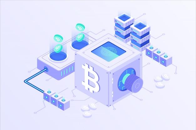 Blockchain cryptocurrency bitcoin mining online server isometrische vector illustartion design
