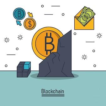 Blockchain- en bitcoin-pictogram