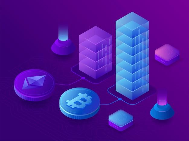 Blockchain en cryptocurrency groeigrafiek, bitcoin-cursus. 3d isometrische illustratie op ultraviolette achtergrond