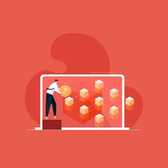 Blockchain financiële technologie concept netwerk van gecodeerde keten van transactie gekoppeld blok