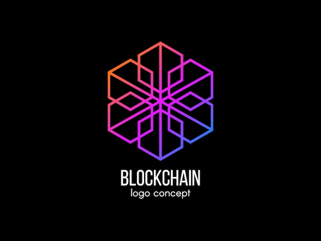 Blockchain logo concept. moderne technologie . logo in kleur kubus. cryptocurrency en bitcoin-label. digitaal geld pictogram. illustratie.
