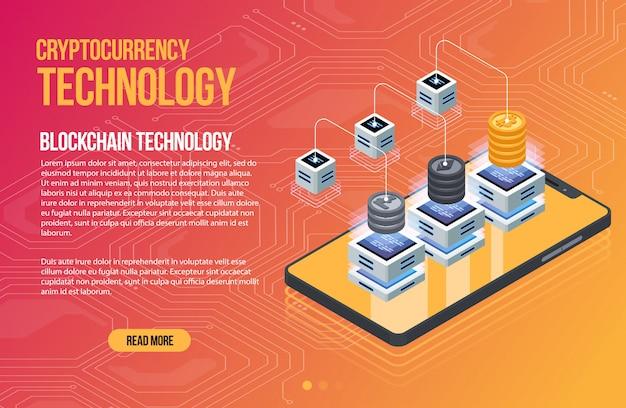 Blockchain netwerk zakelijke sjabloon. cryptocurrency en blockchain isometrische samenstelling. mijnbouw abstracte technologie. digitaal geldsysteem. lay-out voor web en app.