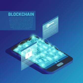 Blockchain-samenstelling op blauw die moderne technologieën van veilige gecodeerde gegevensoverdracht demonstreert