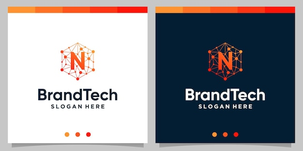 Blockchain technologie abstract logo verloop met eerste letter logo. premium vector