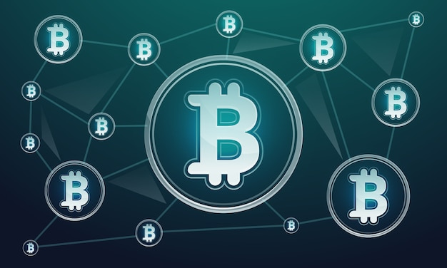 Blockchain technologie concept achtergrond, cartoon stijl