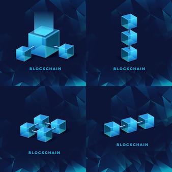 Blockchain technologie concept block chain database data cryptocurrency business digitale financiën bitcoin netwerk valuta crypto geld beveiliging mijnbouw achtergrond
