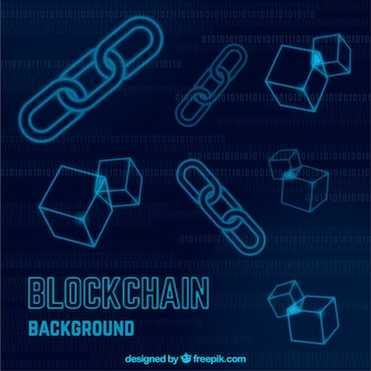 Blockchainachtergrond met pictogrammen