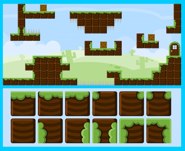 Blocky land game tileset
