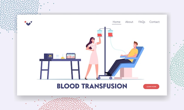 Bloed donatie. mannelijk personage doneert bloed voor zieke mensen landingspaginasjabloon. verpleegster die levensbloed in container neemt. man donor zittend in medische stoel in kliniek. cartoon vectorillustratie