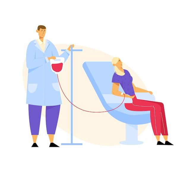 Bloed donatie. vrouwelijk personage doneert bloed voor zieke mensen
