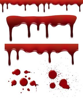 Bloed spat. rode dribbel druppels bloedvlek splash vloeibare elementen borstel texturen realistische sjabloon
