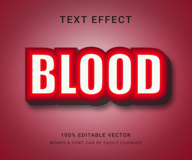 Bloed volledig bewerkbaar teksteffect