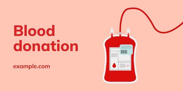 Bloeddonatie campagne sjabloon vector blog banner in minimalistische stijl