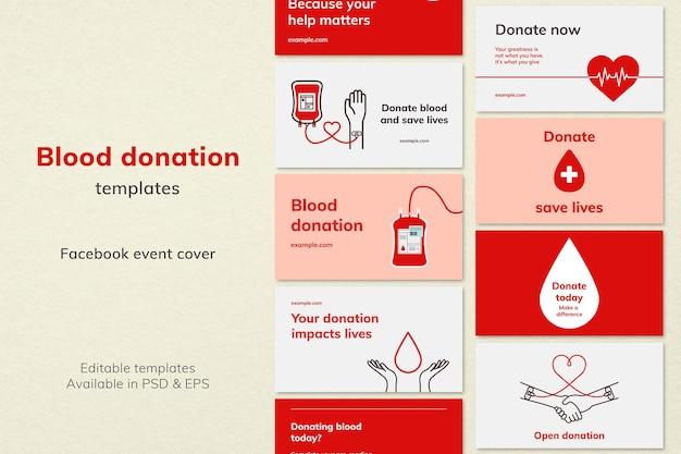 Bloeddonatie campagne sjabloon vector blog banner in minimalistische stijlenset