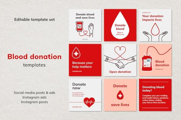 Bloeddonatie campagne sjabloon vector sociale media advertentie in minimalistische stijlenset