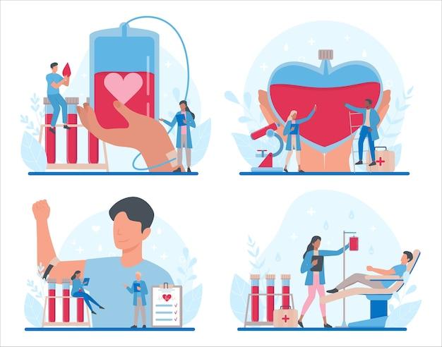Bloeddonatie concept set. geef bloed en red levens, word donor. idee van liefdadigheid en hulp. arts met een bloedflesje.