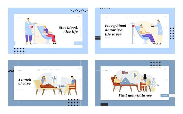 Bloeddonatie en psycholoogafspraak website bestemmingspagina-set