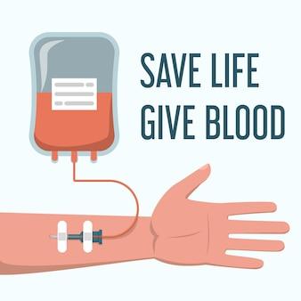 Bloeddonatie met leven redden, bloedtekst geven