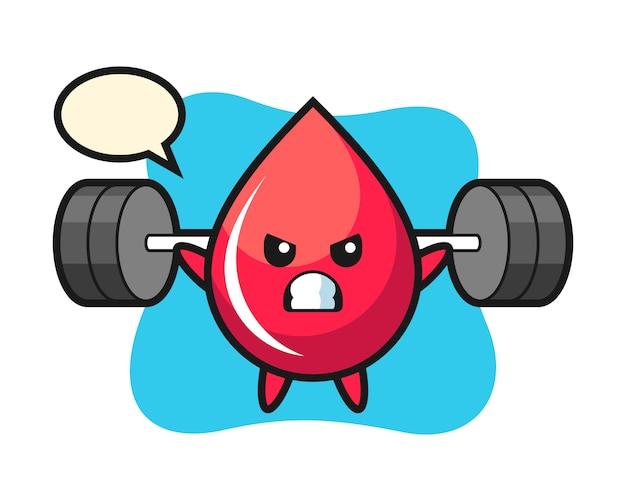 Bloeddruppel mascotte cartoon met een halter, schattige stijl, sticker, logo-element
