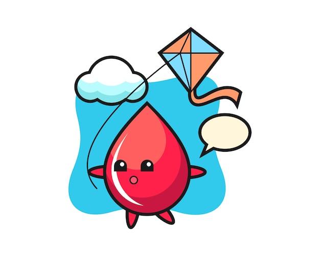 Bloeddruppel mascotte illustratie speelt vlieger, schattige stijl, sticker, logo-element