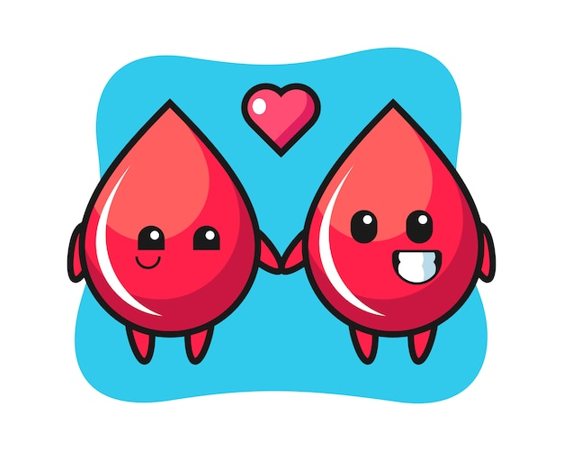 Bloeddruppel stripfiguur paar met verliefd gebaar, schattige stijl, sticker, logo-element