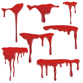 Bloeddruppelset. drop bloed isloated witte achtergrond. gelukkig halloween-decoratieontwerp. rode splatter vlek splash spot, horror vlek. bloeden bloedvlek schrik textuur. vloeibare verf
