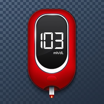 Bloedglucosemeter test, diabetes glucometer.