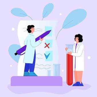 Bloedonderzoek en hematologieonderzoek met de vectorillustratie van het artsenbeeldverhaal.