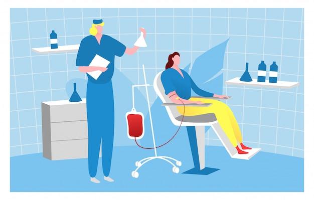 Bloedstroom donormensen, karakter arts man nemen bloed vrouwelijke patiënt illustratie. kamer voor medisch onderzoek.