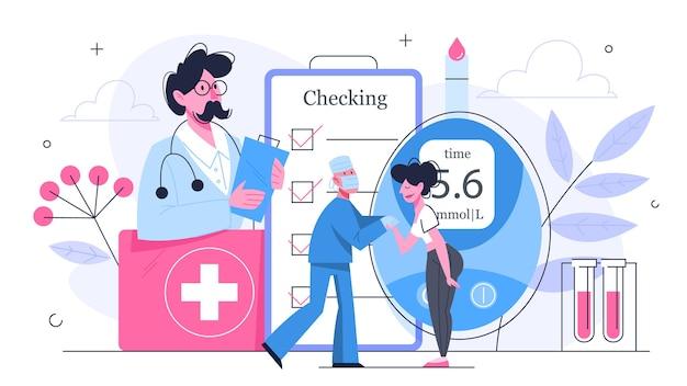 Bloedsuikertest in kliniekconcept. medische apparatuur voor test. arts en patiënt hebben een consult over diagnos. illustratie in stijl