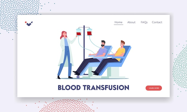 Bloedtransfusie, donatie bestemmingspagina sjabloon. personages doneren bloed, verpleegster neemt levensbloed in plastic container. donor in medische stoel in kliniek. cartoon mensen vectorillustratie