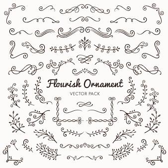 Bloei ornamenten kalligrafische ontwerpelementen