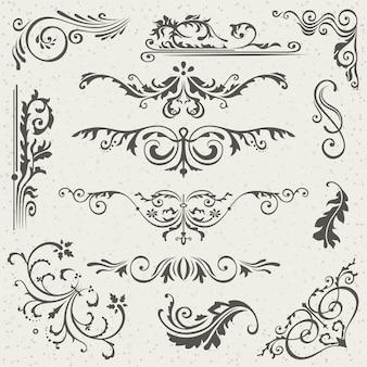 Bloei victoriaanse kalligrafische randen