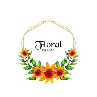 Bloeiend aquarel bloemenframe