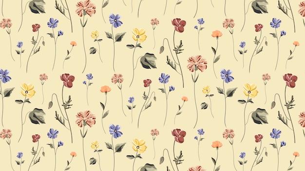 Bloeiend bloemen naadloos patroon op een beige achtergrond