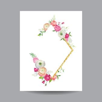 Bloeiend lente- en zomerbloemenframe met gouden glitterrand. aquarel roze bloemen voor uitnodiging, bruiloft, baby shower kaart in vector