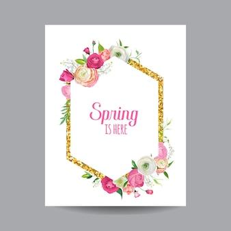 Bloeiend lente- en zomerbloemenframe met gouden glitterrand. aquarel rozen bloemen voor uitnodiging, bruiloft, baby shower kaart in vector