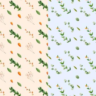 Bloeiende bladeren en takken aquarel patroon