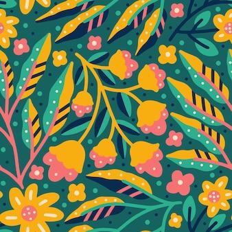 Bloeiende bloem en bladeren kleurrijke natuur naadloze patroon
