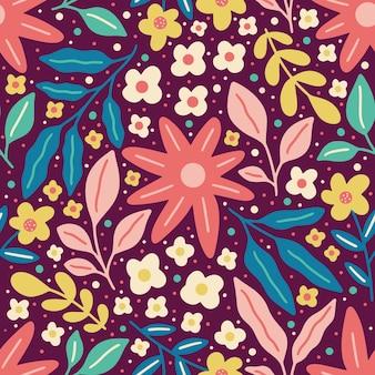 Bloeiende bloem en kleurrijke gebladerte lente natuur naadloze patroon