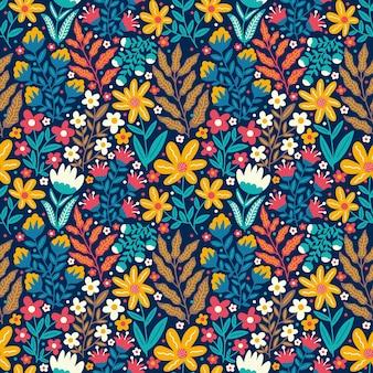Bloeiende bloem kleurrijke doodle natuur naadloze patroon