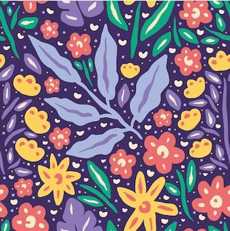Bloeiende bloem lente natuur naadloze patroon
