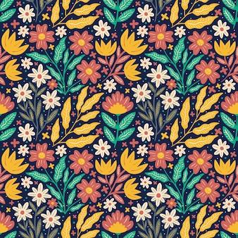 Bloeiende bloem met felle kleuren naadloos patroon