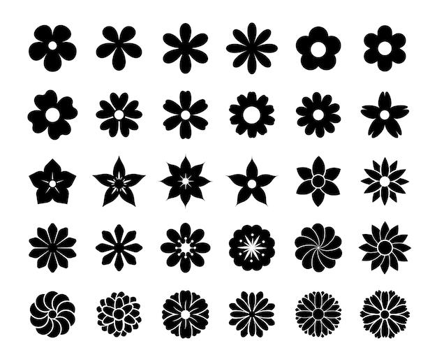 Bloeiende bloem silhouet vector. simpele bloemen voor een mooie decoratie