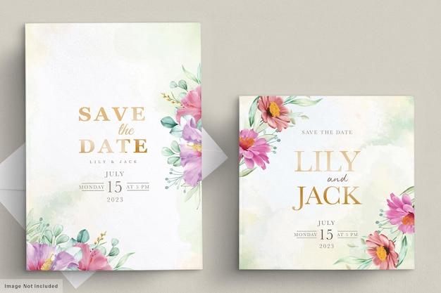 Bloeiende bloemen bruiloft frame kaart