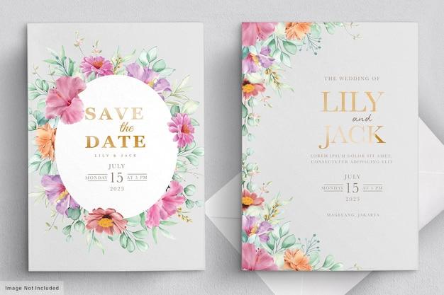 Bloeiende bloemen bruiloft frame kaart Premium Vector