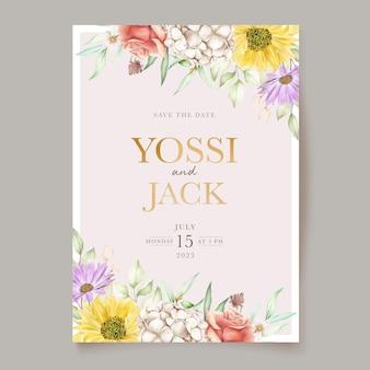 Bloeiende bloemen lente uitnodigingskaart