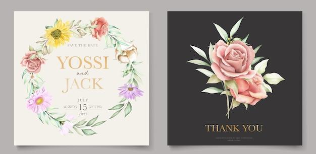 Bloeiende bloemen lente uitnodigingskaartenset Premium Vector