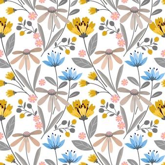 Bloeiende bloemen ontwerpen naadloos patroon.