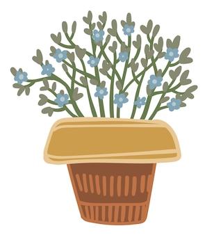 Bloeiende bloemen verzameld in boeket in gevlochten mand of rustieke vaas met textiel. geïsoleerde vintage decoratie voor thuis of op kantoor. bloemist samenstelling in winkel of winkel. vector in vlakke stijl